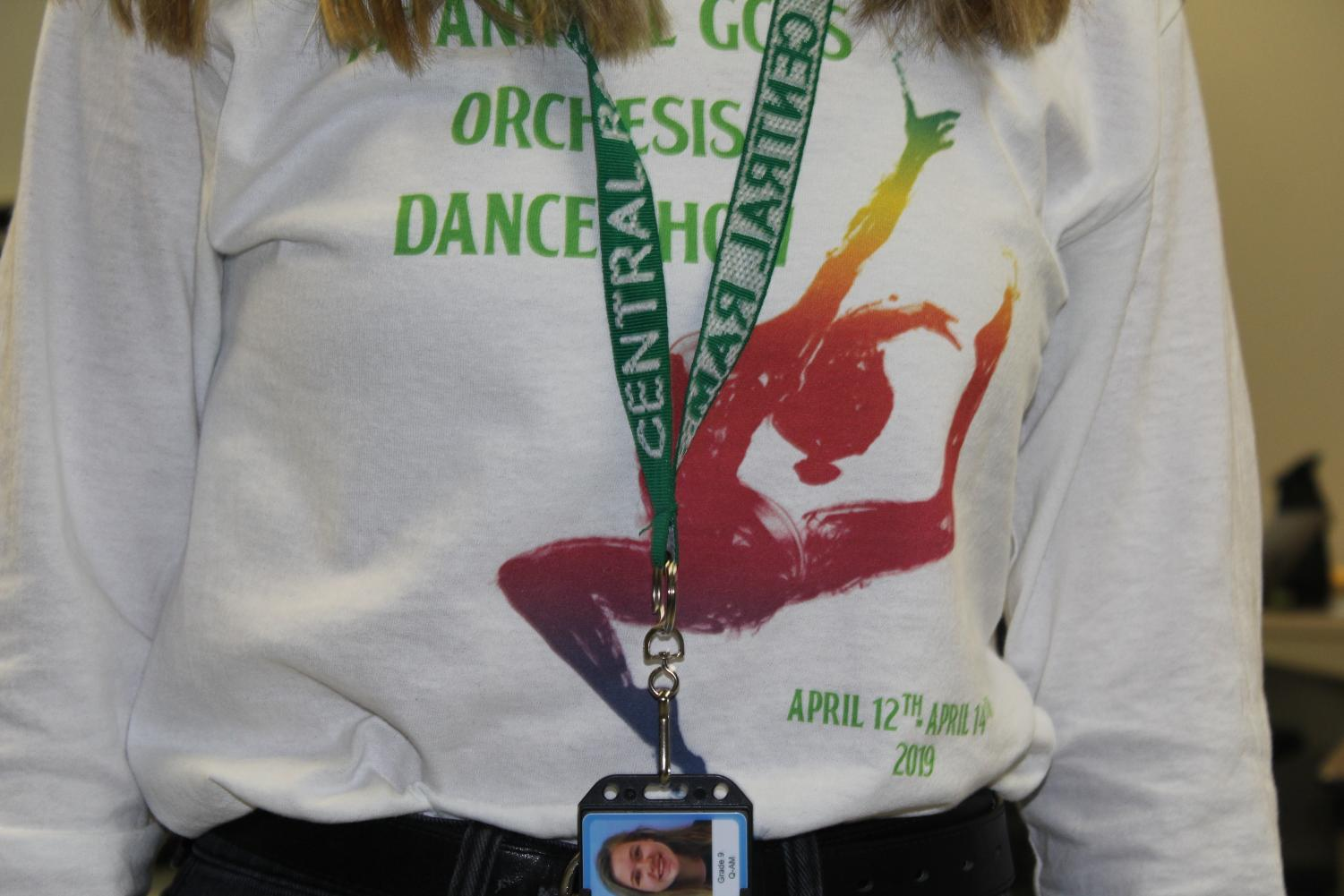 Hayley Breines is pictured wearing her lanyard and ID. Photo by Caden Moe