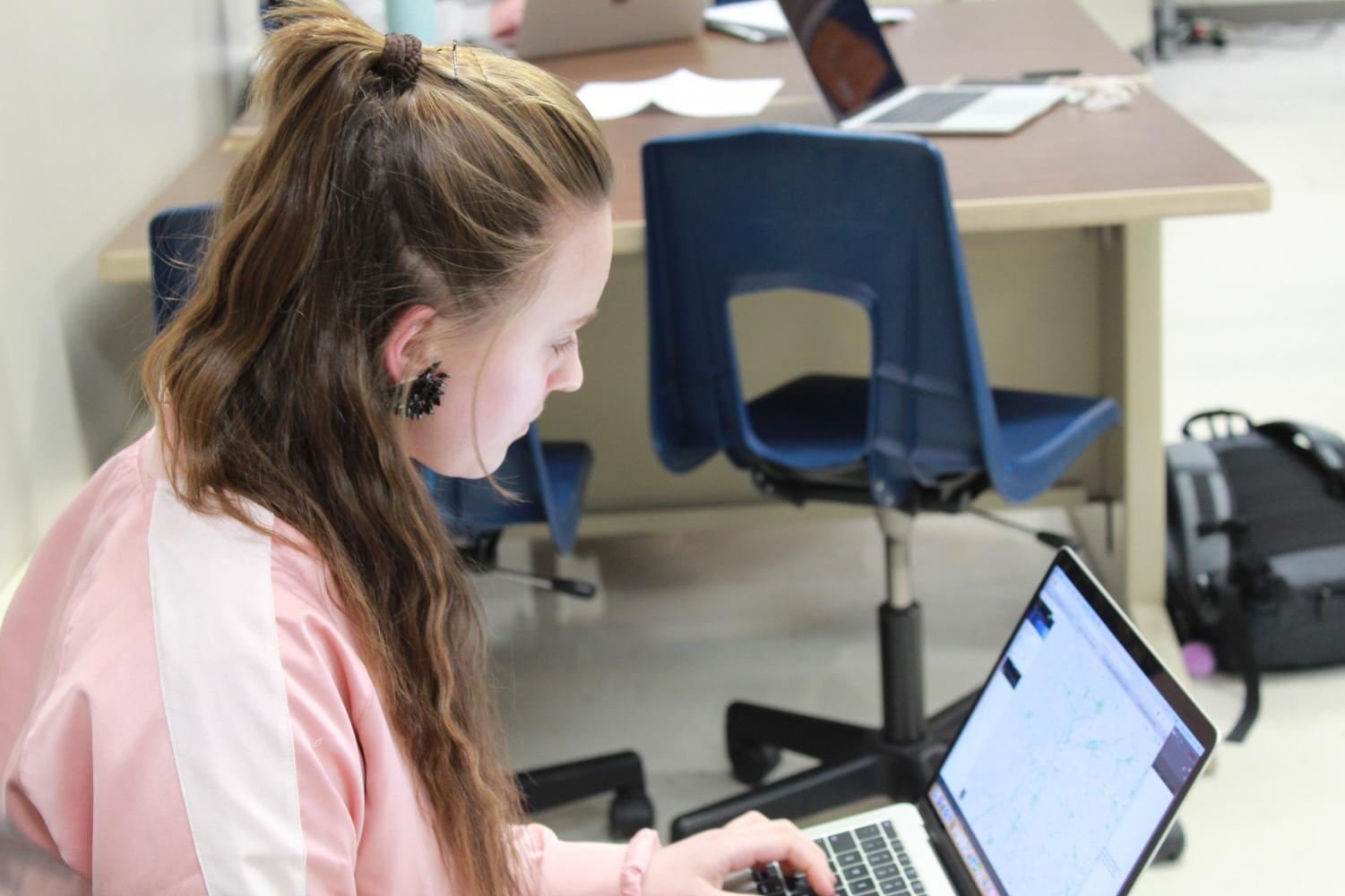 Senior Julia Wasik focuses on getting her work done.