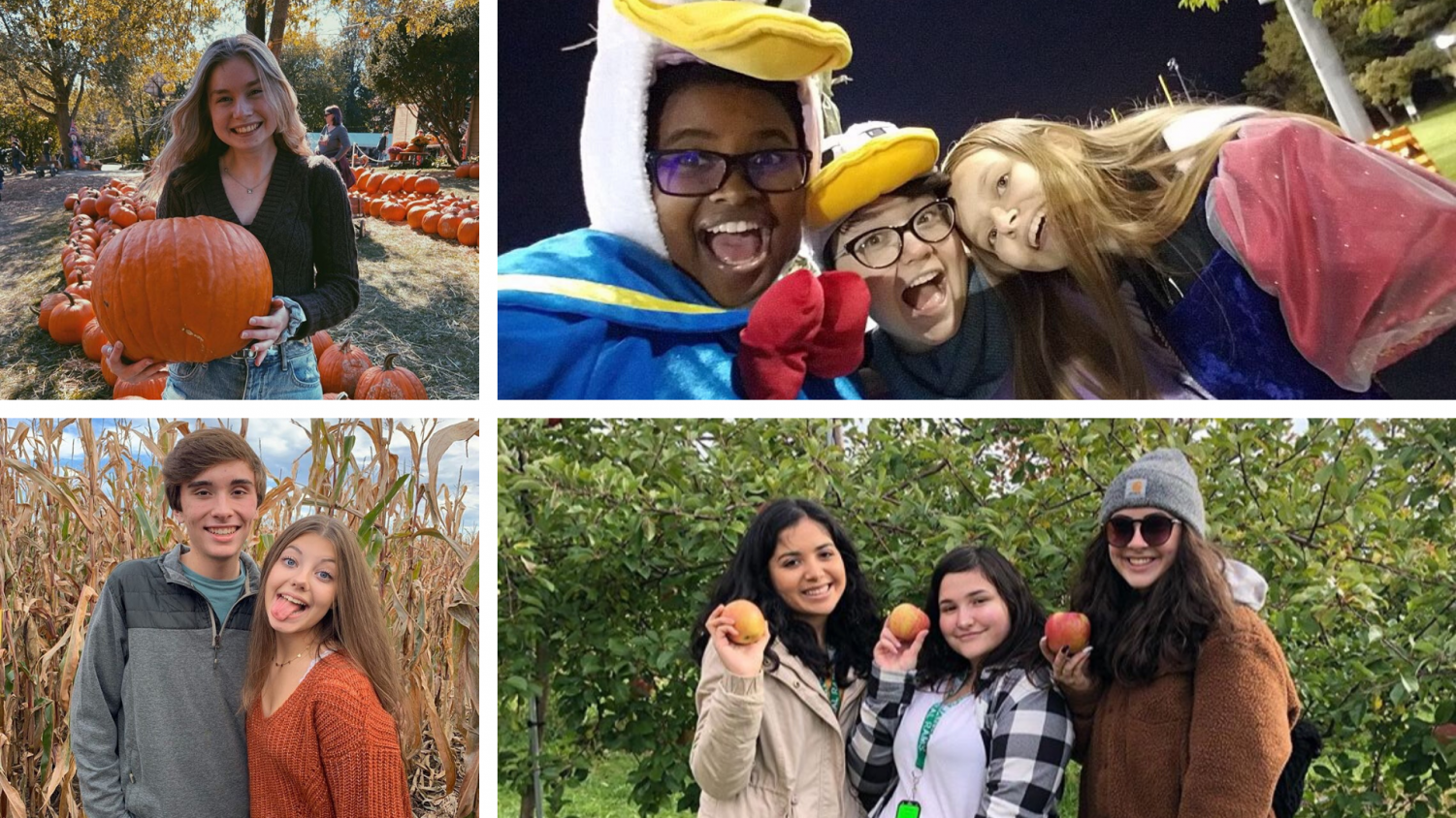 Students pose at events/activities for the fall season