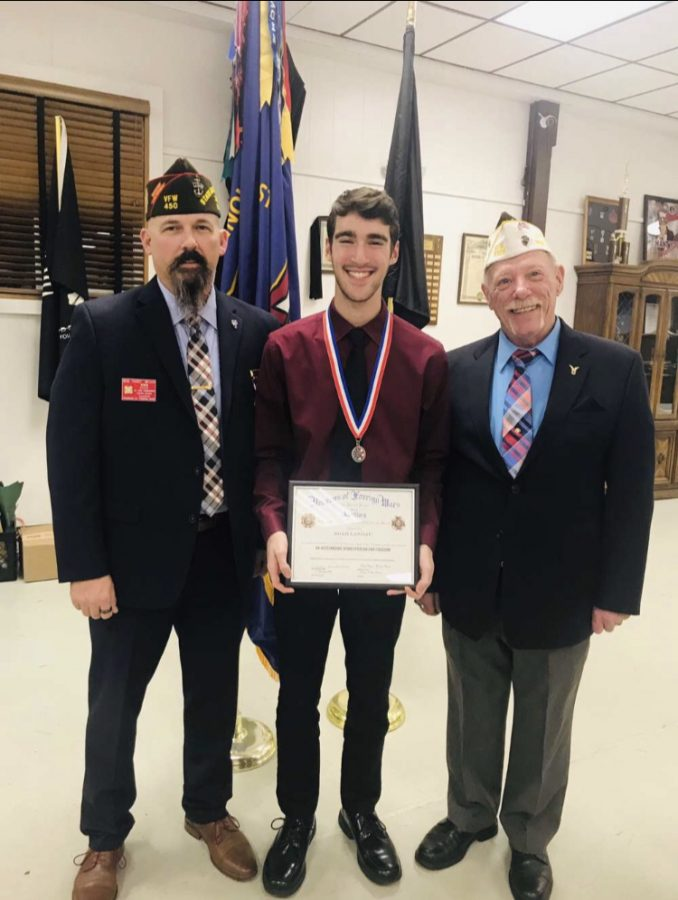 Noah Landau with members of the VFW photo provided by: Noah Landau