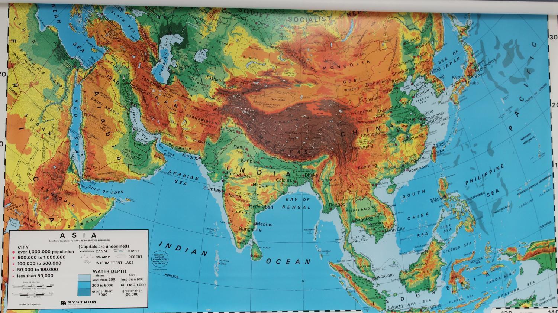 Iran is located in Asia near India