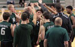 The boys' varsity volleyball team doing their pre game hype up chant, last season.