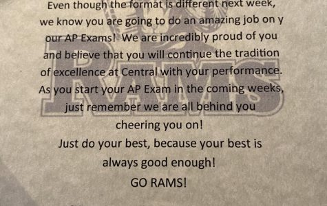 The administrative board sent out a special note to all students taking an AP test to wish them luck.