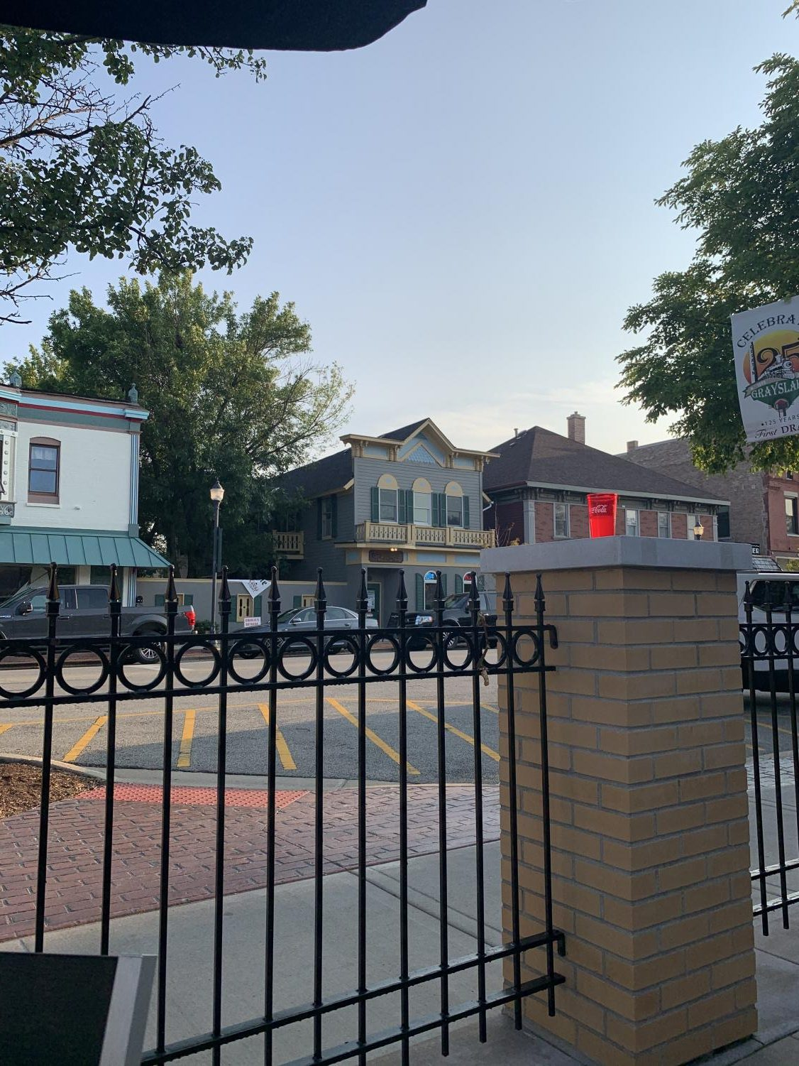A view of Downtown Grayslake from the lower patio at First Draft. Photo by Hayley Breines