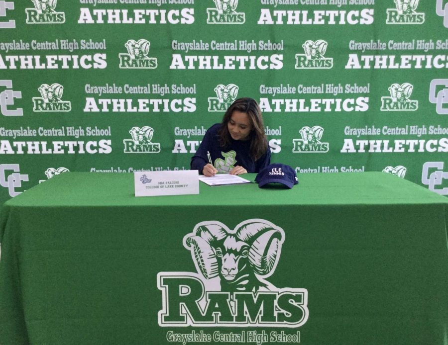 Mia Falconi officially signed with CLC to play tennis. Photo provided by Mia Falconi.