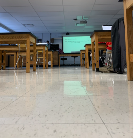 Students in earth science class practice a hard lock down drill on a regular school day, so they know what to do in case of emergency.  Teacher Shanna Piggott prepared her class of the safety guidelines prior to the drill on Feb. 2, 2021.