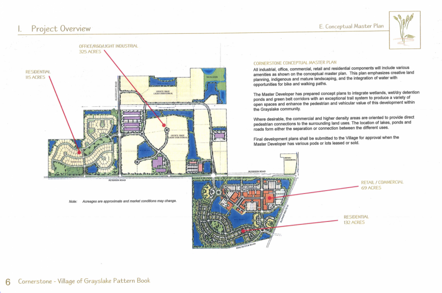A 2009 rendering of the Cornerstone site as shown in a resource packet submitted to the Village of Grayslake. The plan has been in development for 12 years and is now finally starting to show signs of moving forward.