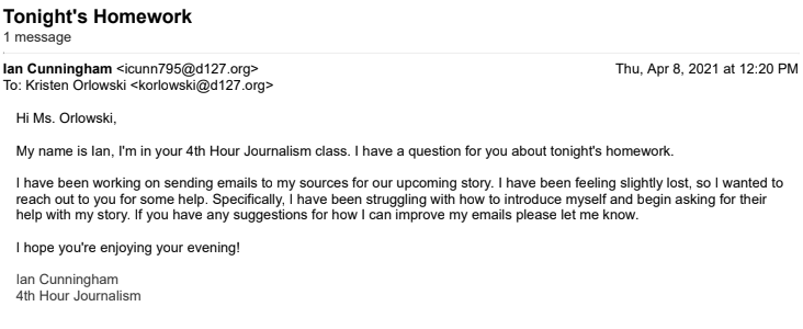 This email demonstrates a good balance of formality, is straight forward, and respectful. When writing an email to teachers consider using this format to effectively communicate your point.