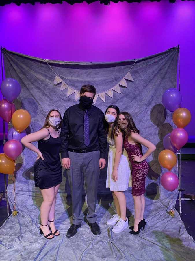 At the Theory of Relativity premiere, Encore! had a prom-style photoshoot. Here are the seniors from the cast. From left to right: Mikayla Blum, Caden Moe, Larina Pelletier, and Tori Whaples. Photo provided by Caden Moe