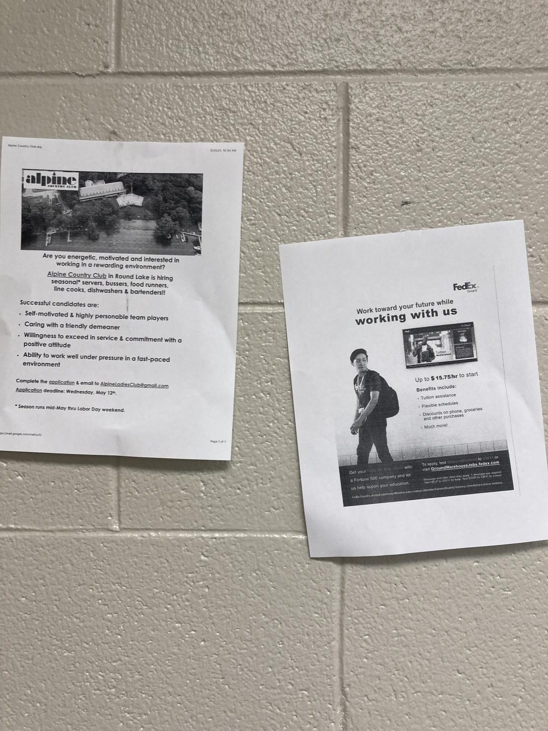 Ram Central Station helps students find jobs by posting fliers around school.