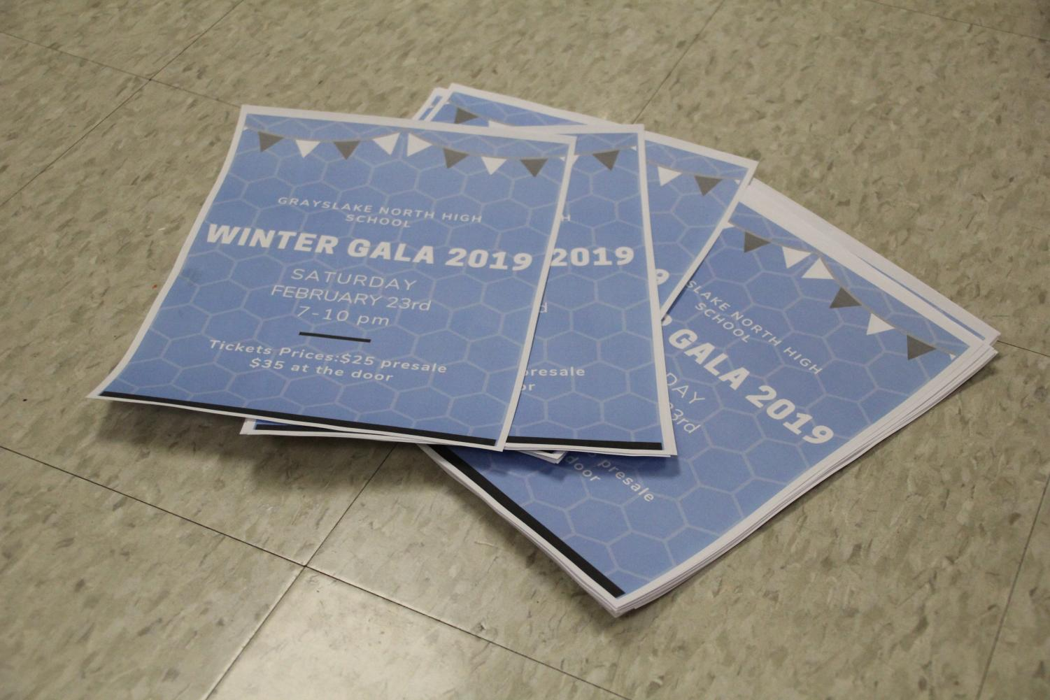 Gala flyers created by student council members. Photo by Hayley Breines