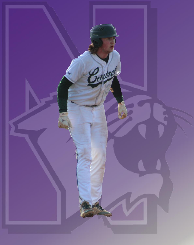 Future Northwestern Wildcat Coby Moe rounding third base against Marian Central Catholic