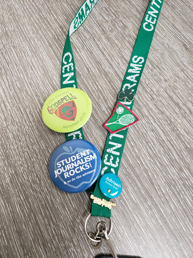 Here is an example of a decorated lanyard with buttons and patches.