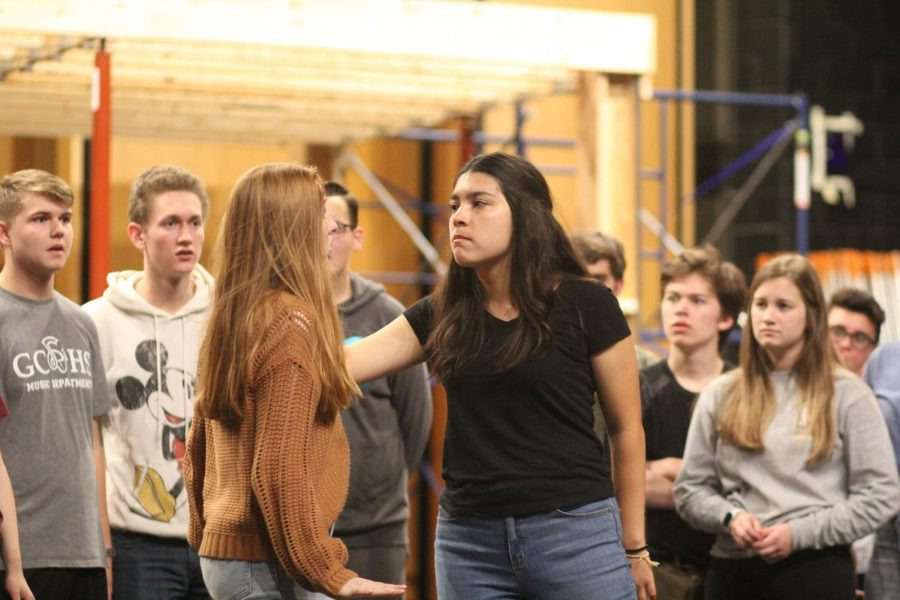 Junior+Larina+Pelletier+gives+an+intense+stare+to+sophomore+Amanda+Barry+in+a+scene+from+%E2%80%98Godspell%E2%80%99.+
