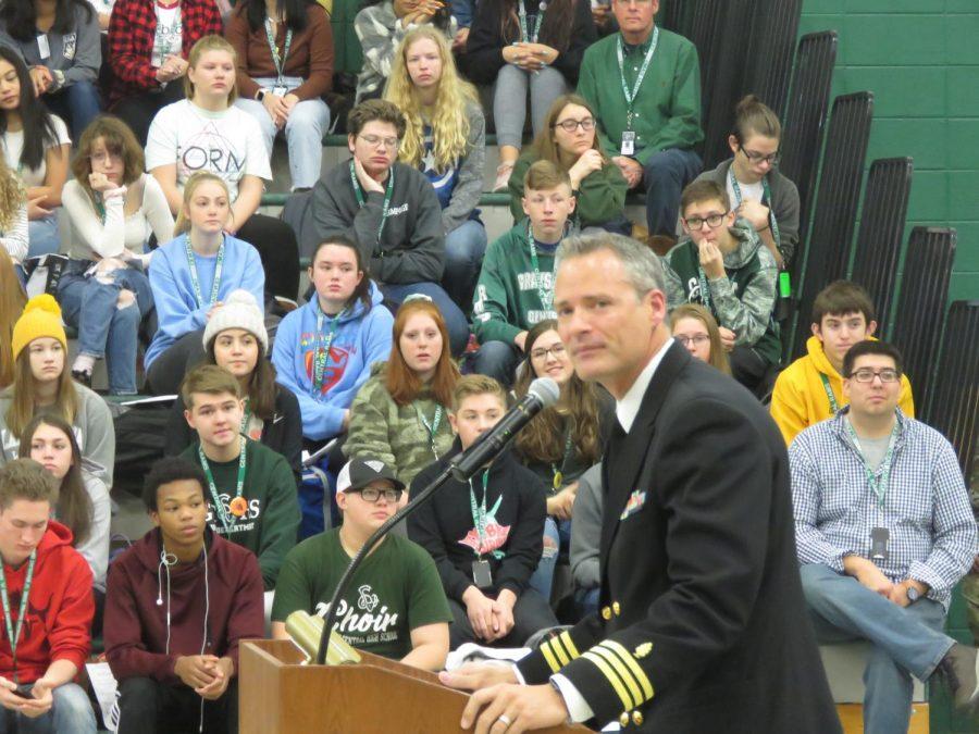 Anthony Peterson honors veterans through powerful speech. Photo by Charrisa Olaiz