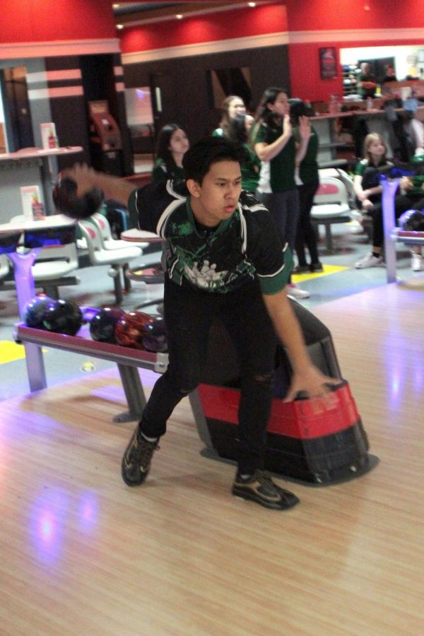 Russnuell Carcellar, one of the juniors who qualified for sectionals, focuses intensely while bowling. Photo by Jennifer Maiden