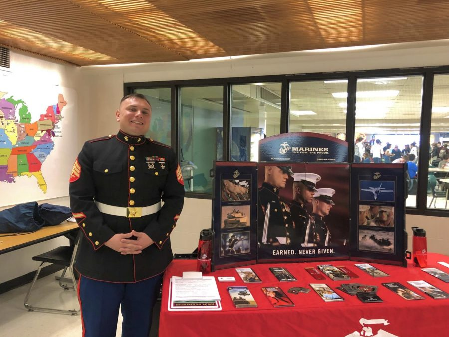 Jorge Toledo recruiting outside the cafeteria.