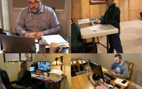 The administrative board- Principal Dan Landry, Associate Principal for Curriculum and Instruction Barbara Georges, Associate Principal for Student Services Mike Przybylski, and Athletic Director Brian Moe- are each pictured at their home work spaces.