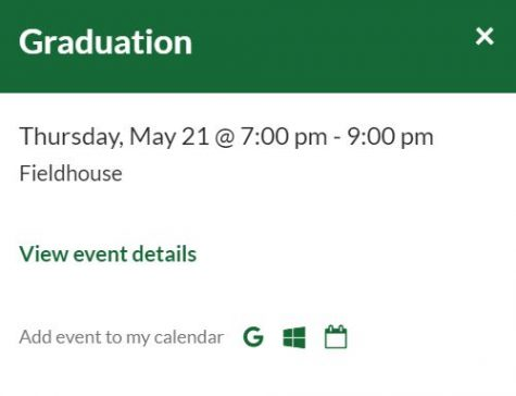 The Class of 2020 Graduation is still listed as an event on the GCHS website as of April 9, 2020.