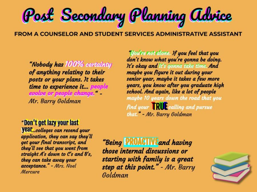 School+counselor+Barry+Goldman+and+student+services+administrative+assistant+Noel+Mercure+provides+juniors+with+advice+to+take+in+account+in+post-secondary+planning.+