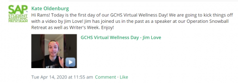 Oldenburg posted Wellness Day videos on Schoology for all students during eLearning.