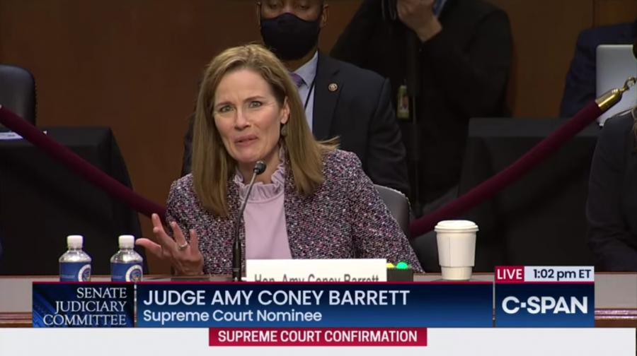 Judge Amy Coney Barrett recalling the five freedoms of the 1st amendment.