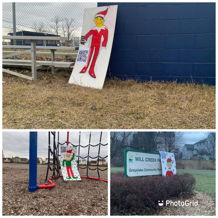The three elves were hidden at (from top to bottom) Avon Township Baseball Fields, the Park School playground (bottom left) and Mill Creek Park (bottom right) on Tuesday, Dec. 15. Photo edited with PhotoGrid