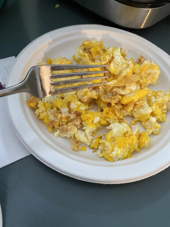 Pictured are scrambled eggs made for breakfast by opinion editor Caden Moe. Eggs are one of the best sources of protein, and are thus, a healthy choice for breakfast. (Photo by Caden Moe).