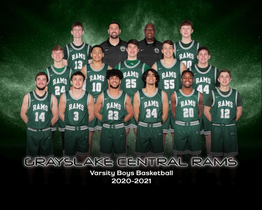 """The Rams varsity boys basketball team's official line-up for winter sports basketball season 2020-2021. Basketball coach Brian Centella acknowledged his team for finishing off the season strong. """"The guys really hung together through adversity. We continue to get better throughout the year. We had great senior leadership...I'm really proud of the way the guys hung together and finished,"""" said Centella."""
