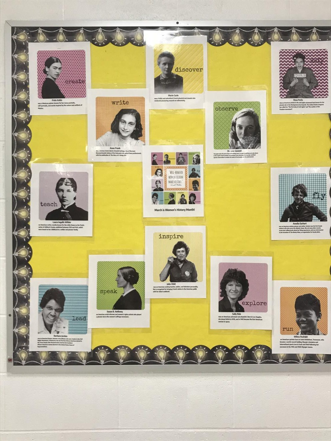 "Social studies teacher Haley Wickstrom honors considerable women in history by creating a poster outside of room 2465. In celebration of WHS Wickstrom created a poster that honors important female figures such as Anne Frank, Frida Kahlo, Amelia Earhart, and many more. ""These women impacted our history and society today by paving the way for us to be successful in all areas of life. Women have done remarkable things in the past, that encourages us [women] to continue to do so in the future,"" said Wickstrom."
