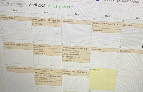 One student's Schoology calendar is overwhelming. Class work and homeork is not included, neither is a social life or life outside of school. Talk to counselors for help managing this. Photo by Kassandra Ramirez