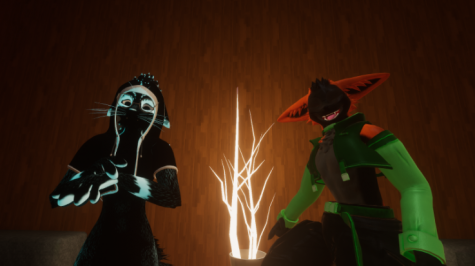 """VRChat users PapaFoxxo (Pictured left), and Puck_the_Fox (Pictured right), pose for a photo following a virtual interview. VRchat is a virtual platform where users can express themselves using any kind of characters they want. """"I use VR to get away from all the daily troubles after a long day,"""" said PapaFoxxo."""