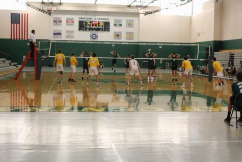 """On April 30, the varsity boys volleyball played a tough game against Carmel Catholic high school and went home with a score of 2-0. Even though they did not go home with a win their energy radiated through the gym. """"We have to be thankful that we"""