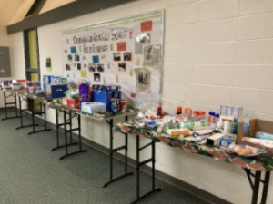 In the spring of 2021, FBLA prepares Military and Marine care packages at Grayslake Central.