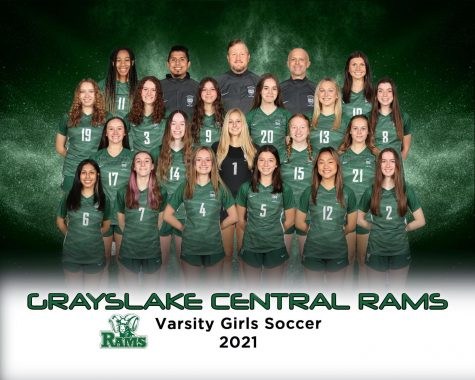 """The Rams varsity girls soccer team's official line-up for spring sports soccer season 2021. Soccer coach Keith Andersson shared the pausing of last year's season which led him to look forward to this year's soccer season. """"I"""